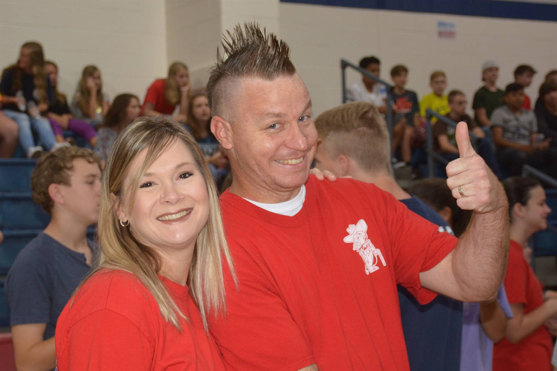"Mrs. Duke and Mr. Turner give HCMS a ""Thumbs Up"""