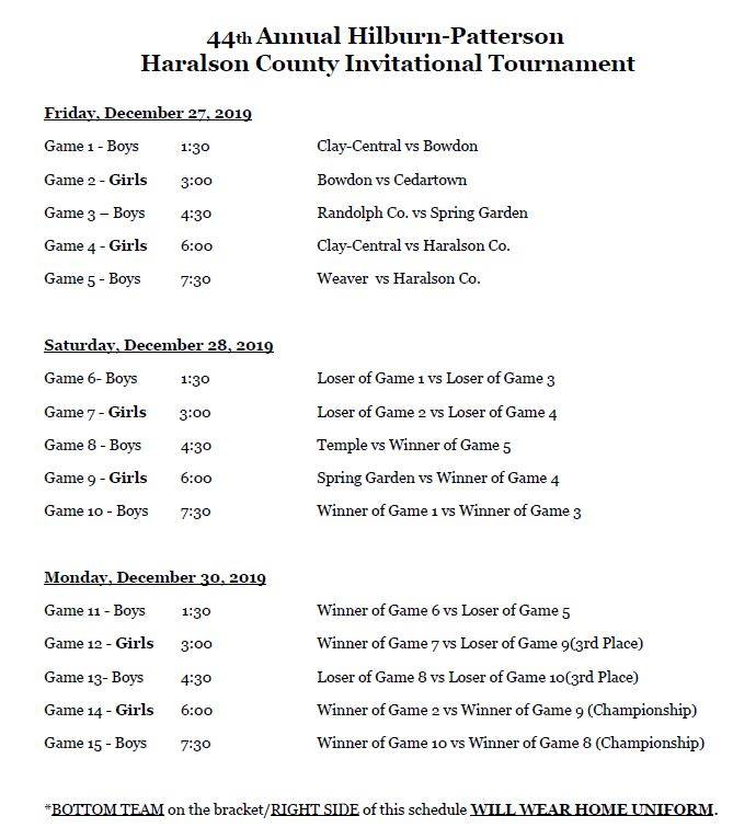 HC Invitational Brackets